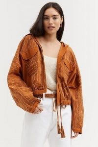 ANTHROPOLOGIE Hooded Contrast-Stitch Jacket Honey ~ women's casual light brown jackets ~ womens stylish outerwear