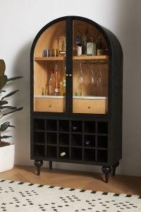 ANTHROPOLOGIE Fern Bar Cabinet Black ~ chic vintage style drinks cabinets ~ stylish home furniture