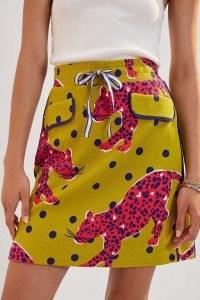 Maeve Pull-On Mini Skirt Yellow Motif / animal print drawstring waist skirts / womens fashion
