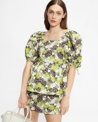 TED BAKER IIDONA Baby doll puff sleeve top – green floral puff sleeve square neck tops