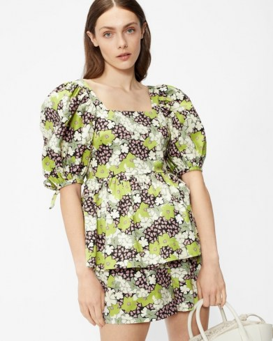 TED BAKER IIDONA Baby doll puff sleeve top – green floral puff sleeve square neck tops - flipped