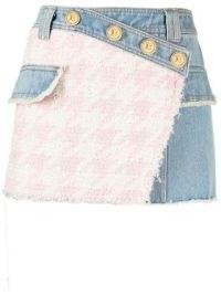 Balmain tweed panel denim skirt | textured wrap style mini skirts