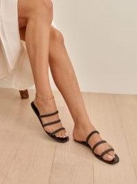 Reformation Bardia Ruched Strap Flat Sandal – triple strap flats