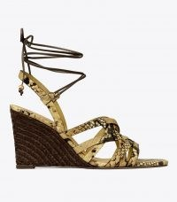 Tory Burch BASKET-WEAVE ESPADRILLE WEDGE Pale Desert Roccia | glamorous ankle tie wedges