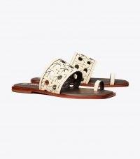 Tory BASKET-WEAVE SLIDE New Cream / women's summer toe ring slides