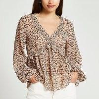 RIVER ISLAND Beige animal print frill long sleeve tea top / womens ruffle trim tops