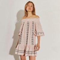 river island Beige mini bardot dress ~ off the shoulder summer dresses ~ boho fashion
