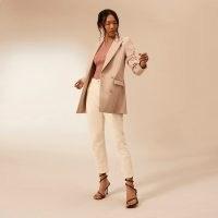 RIVER ISLAND Beige RI Studio fitted blazer ~ womens neutral blazers