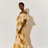 river island Beige short sleeve bardot maxi dress – floral boho summer dresses ~ off the shoulder fashion