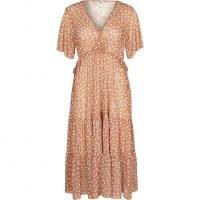 RIVER ISLAND Beige short sleeve mesh v neck spot dress / women's tiered empired waist dresses