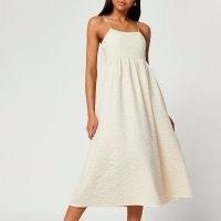 River Island Beige strappy cami midi dresses | womens textured skinny strap dresses | women's summer fashion