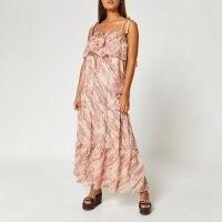 River Island Beige tie dye print bardot maxi dress | womens tie strap summer dresses | women's holiday fashion | tiered | floaty