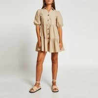 River Island Beige tiered puff sleeve shirt dress – frill hem collared dresses – womens fashion