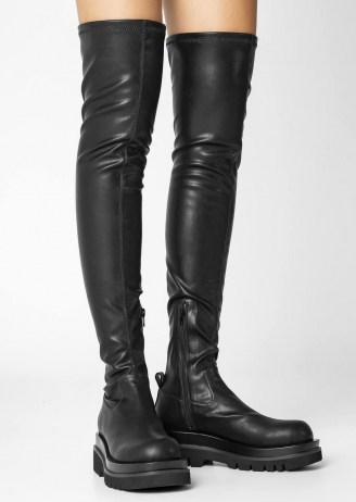 Tony Bianco Bellair Black Venezia Long Boots   over the knee   thigh high   women's chunky sole boot - flipped