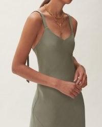 Jigsaw BIAS CUT SLIP DRESS GREEN | double shoulder strap dresses | womens effortless style fashion | effortlessly stylish clothing