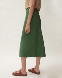 Jigsaw BIAS CUT SLIP MIDI SKIRT GREEN | pin hem skirts | womens effortless style fashion