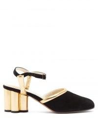 SALVATORE FERRAGAMO Altana cylinder-heel leather and suede pumps / shiny gold block heels
