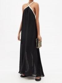 ZEUS + DIONE Athena linen-blend sundress ~ black maxi halterneck sundresses ~ womens chic summer halter neck fashion
