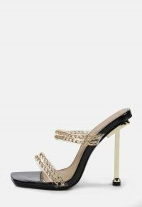 MISSGUIDED black chain double strap feature heels ~ strappy high heel sandals