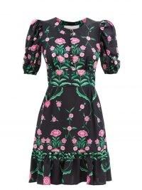 LA DOUBLEJ Coquette Rosa-print sablé mini dress in black / floral puff sleeve ruffle hem dresses