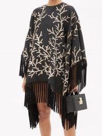 TALLER MARMO Coralito fringed jacquard poncho dress ~ fringe trim LBD