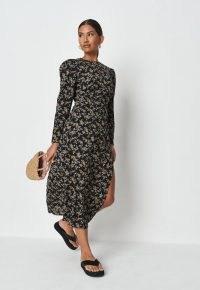 MISSGUIDED black floral crew neck long sleeve midi dress / split hem summer dresses