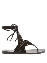 SAINT LAURENT Gia studded wraparound suede sandals ~ womens black stud embellished sandal ~ women's anke wrap summer flats ~ strappy thong strap flat shoes
