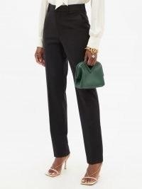 VICTORIA BECKHAM Black high-rise wool-blend twill slim-leg trousers | womens chic tailored pants