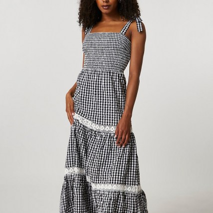 RIVER ISLAND Black lace trim gingham maxi dress / check print summer dresses with shirred bodice - flipped