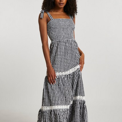 RIVER ISLAND Black lace trim gingham maxi dress / check print summer dresses with shirred bodice