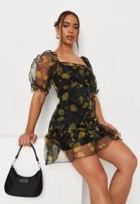 MISSGUIDED black lemon print organza tiered smock dress / semi sheer fruit print dresses