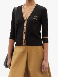 OEWE Logo-embroidered wool cardigan ~ women's black front button V-neck cardigans ~ womens crop hem cardi ~ designer knitwear