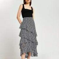 River Island Black maxi ruffle skirt | women's ruffled tiered skirts