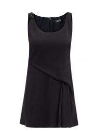 VERSACE Medusa-plaque draped crepe mini dress ~ chic LBD ~ sleeveless little black dresses ~ womens evening wear ~ women's party clothes
