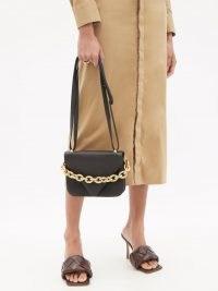 BOTTEGA VENETA Mount small black leather shoulder bag | chunky chain bags
