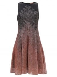 MISSONI Chevron-gradient flared dress / shimmering sleeveless fit and flare silver thread dresses