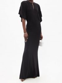 NORMA KAMALI Obie black cape-sleeve jersey maxi dress ~ glamorous evening event dresses ~ occasion gowns ~ hollywood style glamour