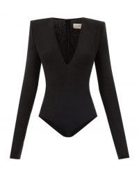 ALEXANDRE VAUTHIER Black padded-shoulder plunge front metallic jersey bodysuit ~ plunging neckline bodysuits