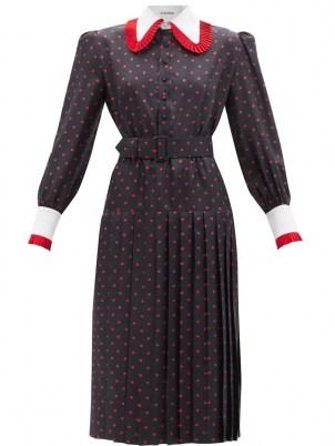 RODARTE Pleated-collar polka-dot silk dress / women's spot print vintage inspired dresses / retro fashion - flipped