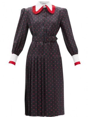 RODARTE Pleated-collar polka-dot silk dress / women's spot print vintage inspired dresses / retro fashion