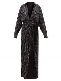 DAVID KOMA Plunge-neck crystal-embellished satin wrap dress / long black shimmering shirt dresses