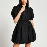 River Island Black puff sleeve mini shirt dress   womens puffball hem dresses   women's on trend fashion