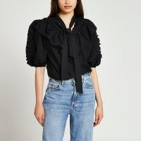 River Island Black puff sleeve pussybow shirt   frill trim blouses