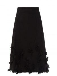 JIL SANDER Raw floral-appliqué wool A-line skirt / fluid fabric flared hem skirts
