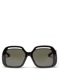 LINDA FARROW Renata square acetate sunglasses / large black 70s style sunnies / chic oversized retro eyewear