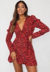 Missguided black rose print puff sleeve tea dress | plunge front wrap dresses