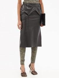PETAR PETROV Ruel folded-waist black leather skirt ~ womens contemporary skirts ~ women's designer fashion