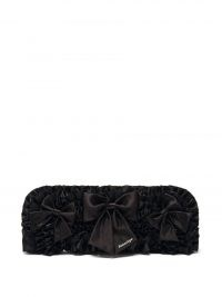 BALENCIAGA Ruffled satin bow embellished clutch / black oblong occasion bags / womens evening event accessories