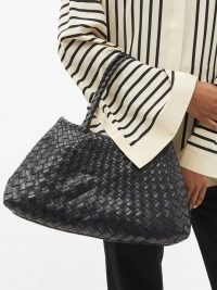 DRAGON DIFFUSION Santa Croce large black woven-leather tote bag / chic handwoven handbags / womens artisan accessories / women's braided top handle bags