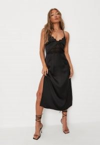 MISSGUIDED black satin lace trim midaxi dress ~ lingerie style occasion wear ~ evening slip dresses ~ strappy going out fashion ~ cami strap party clothing